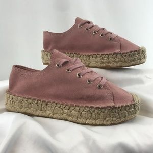 Alohas Pink Suede Lace-Up Espadrilles